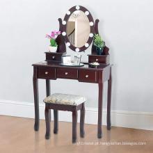 Penteadeira com fezes e luzes LED com 5 gavetas e espelho, Brown
