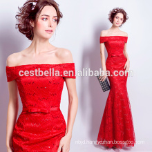 China Suzhou Manufacturer best selling Cap Sleeve Red Long Mermaid Evening Dresses