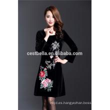 Nueva moda de otoño de invierno más tamaño 5XL negro de lujo de manga llena de vestido bordado