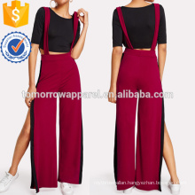 Crop Tee With Side Split Jumpsuit Manufacture Wholesale Fashion Women Apparel (TA4045SS)