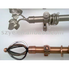 Classical antique copper curtain rods with leaf shape finials