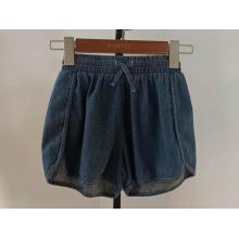 sports dark blue denim elastic waist girls shorts