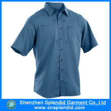 Camisas de algodón de alta calidad de la manga corta de los hombres del logotipo barato barato