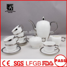 P&T 2015 new product 15pcs silver design porcelain china tea set coffee set