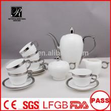 P & T 2015 novo produto 15pcs prata design China porcelana conjunto de chá conjunto de café