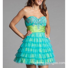 Beaded Organza Strapless Short Sexy Fashion Dresses (FD3019)