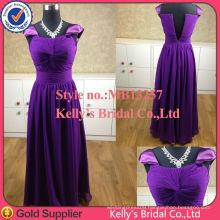 Generous cap sleeves dark purple bridesmaid dress 2015 chiffon maxi evening long dress for muslim women guangdong factory made