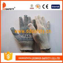 Guantes de punto de hilo de algodón / poliéster Puntos de PVC azul de un lado con logotipo (DKP153)