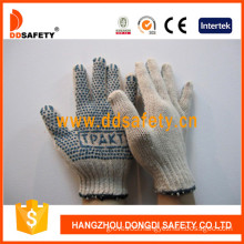 Cotton/Polyester String Knit Gloves Blue PVC Dots One Side with Logo (DKP153)