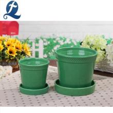 Grüner Keramikgartenblumentopf des neuen Entwurfs runder Form