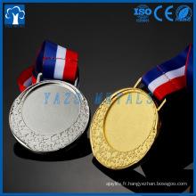 médaille d'insert en métal doré, argent, métal en bronze personnalisé