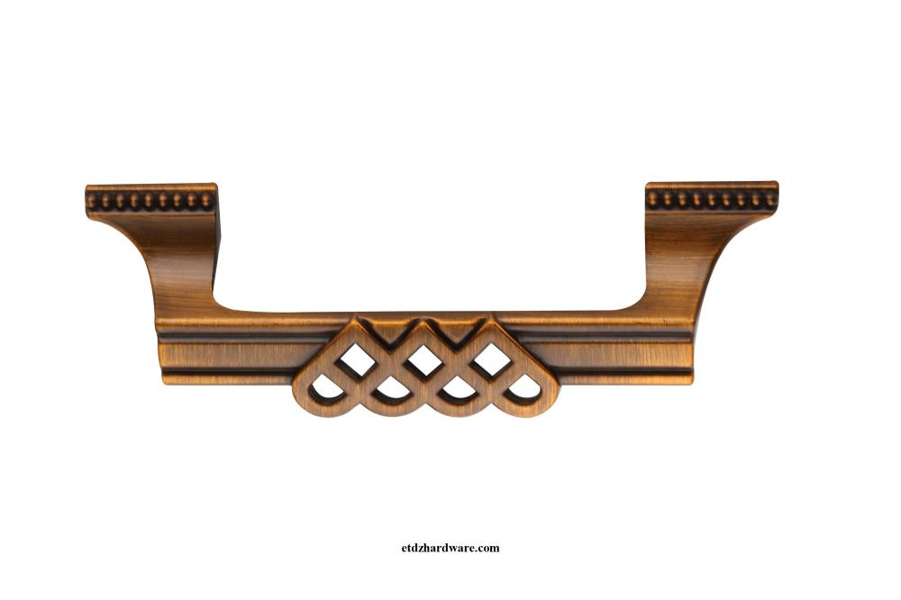 Furniture Hardware Zinc Cabinet Handle With Diamond Pattern