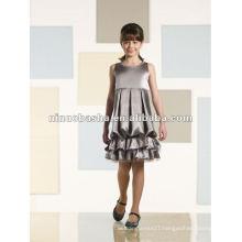 Sleeveless charmeuse knee-length bubble flower girl dress