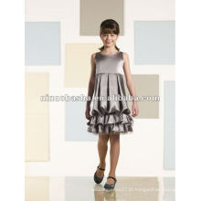 Vestido de menina de flor com bolhas de joelho com comprimento charmeuse sem mangas