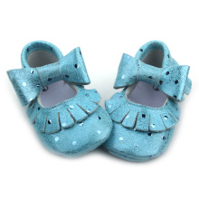 Mix Colors Blue Fancy Metallic Baby Dress Moccasins