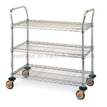 3 Tiers Chrome Shelf Cart Rolling Wire Mesh Shelving