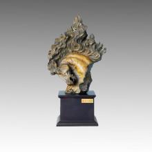 Animal Bronze Sculpture Middle Horse Head Brass Statue Tpal-002