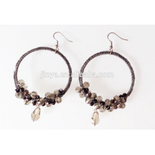 Bohemian Crocheted Crystal Beaded Drop Earrings