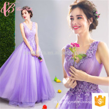 Flowery Purple Atistic Sleeveless Ball Gown Evening Party Cocktail Dress