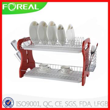 Porte-vaisselle en bois avec 2 bacs en plastique