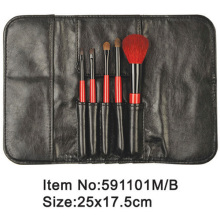 5pcs portable makeup brush kit with satin purse