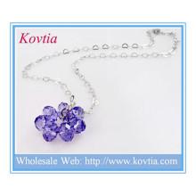 Mode Silber Herz Link Kette lila Kristall Blume schwimmende Anhänger Halskette