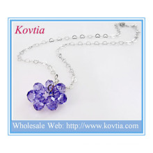 Fashion silver heart link chain purple crystal flower floating pendant necklace