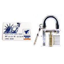 Candado de práctica transparente con herramientas para abrir cerraduras con tarjeta de 5 piezas (Combo 1)