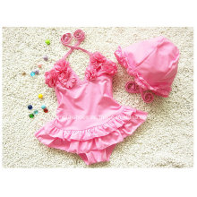 Pink Little Girl′s Ruffled New Swimsuit