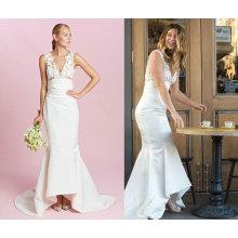 Alta calidad satinado sirena vestido de novia