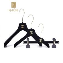 Hot sale  customized  logo black velvet hook hanger