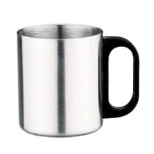 Dupla parede aço inoxidável aço copo de café com o punho plástico