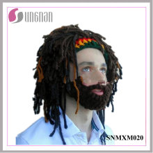 Sombrero de ganchillo hecho punto Rasta barbudo hecho punto 2016 de la peluca de la peluca (SNMXM020)