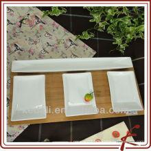 Atacado de mesa de cerâmica branca / Dinnerware / Snack Dish com bambu