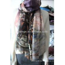 80er Jahre / 2 Wolle Kammgarn individuell bedruckte Schals Schal
