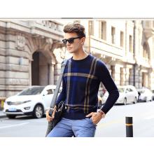 Men′s Cashmere Sweater Round Neck Patterned 16brdm011-2