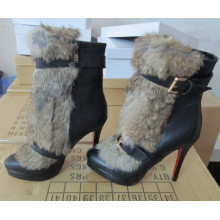 Blak Ankle Boots with Genuine Rabbit Fur (Hcy02-865)
