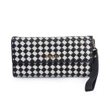 Women Glossy Leather Slim Minimalist Grid Wallet