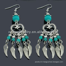 Hand Polish antique silver fashion Earrings with Turquoise stones SE-011A
