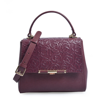 Bolso Too Handcrafted en relieve de cuero de vino floral
