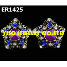 charm designer stud rhinestone earrings