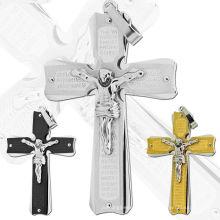 Nueva llegada plateado oro negro plateado jesús cruces colgantes de acero inoxidable para el collar
