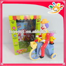 Newest Plastic B/O Clown Riding Bike Toys,Funny Clown,Colorful Clown Toys