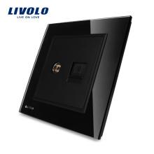 Panneau en verre cristal LIVOLO, Knight Black, prise TV et téléphone VL-W292VT-12 (TV TEL)