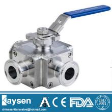 Sanitary square three way ball valve