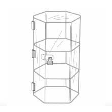 Custom Acrylic Locking Hexagonal Showcase Display Stand
