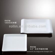 Gesundes haltbares weißes Porzellan-Ofen sicheres japan-Art quadratisches Teller