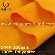 Tissu 100% polaire tricoté par polyester de polyester pour le textile chaud de manteau (GLLML391)