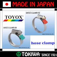 Aço inoxidável, braçadeira de segurança. Feito no Japão pela TOYOX. Longo tempo de vida e resistente a ferrugem (braçadeira de mangueira tipo americano)