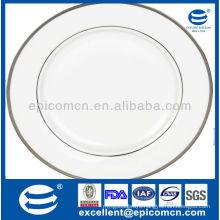 silver rim decorative 42pcs stock household crockery porcelain dinner set
